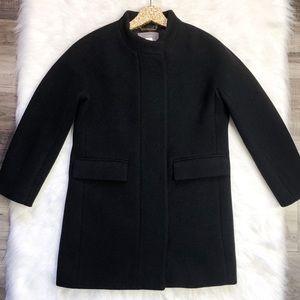 J. Crew Black Stadium Cloth Cocoon Wool Coat